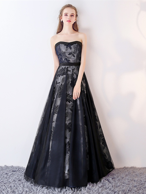 Sweetheart A-Line Lace Sashes Floor-Length Evening Dress
