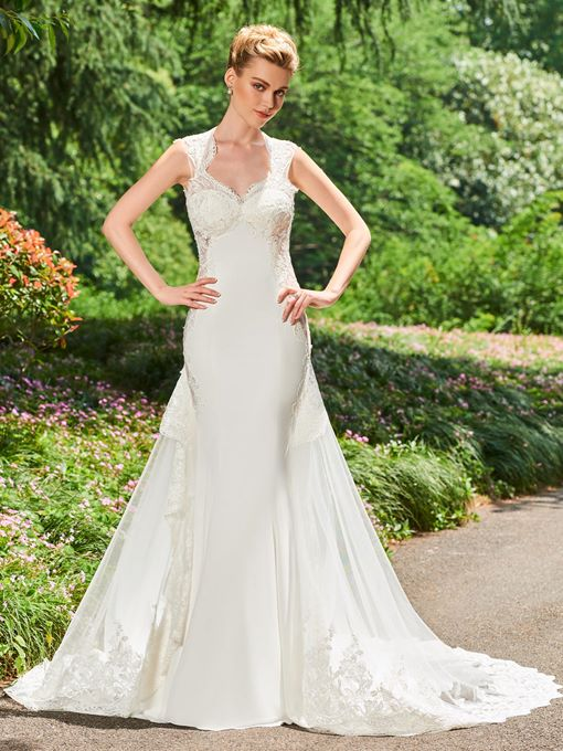 Backless Mermaid Appliques Watteau Train Wedding Dress