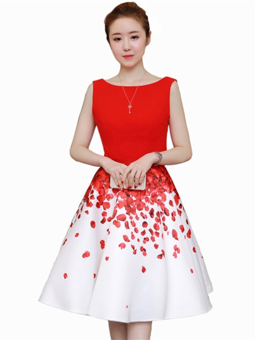 Petals Pattern Red Women's Skater Dress