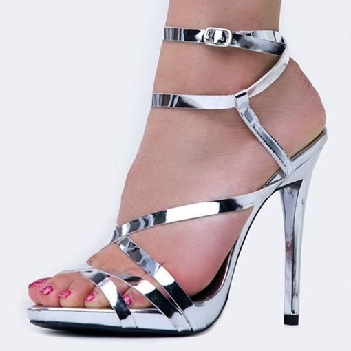 Open Toe Buckle Heel Sandals