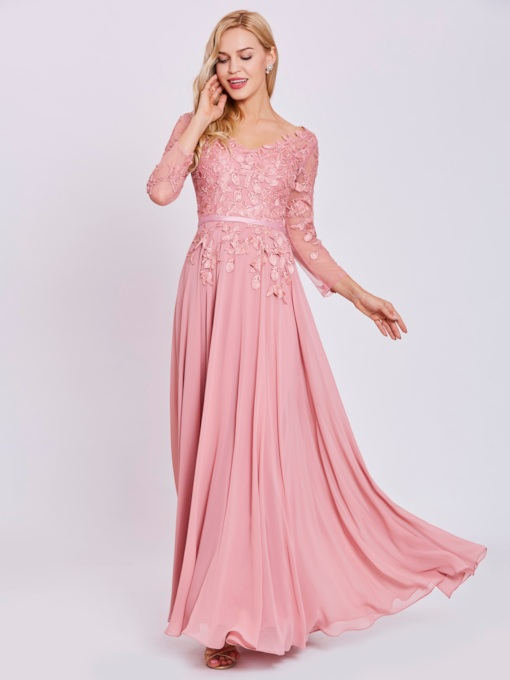 V-Neck Long Sleeves Appliques A Line Evening Dress