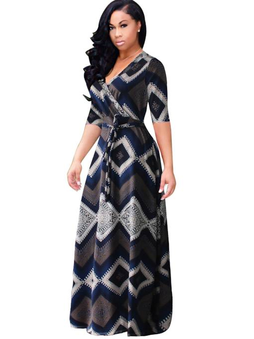 Half Sleeve Lace up Plus Size Women's Maxi Dress
