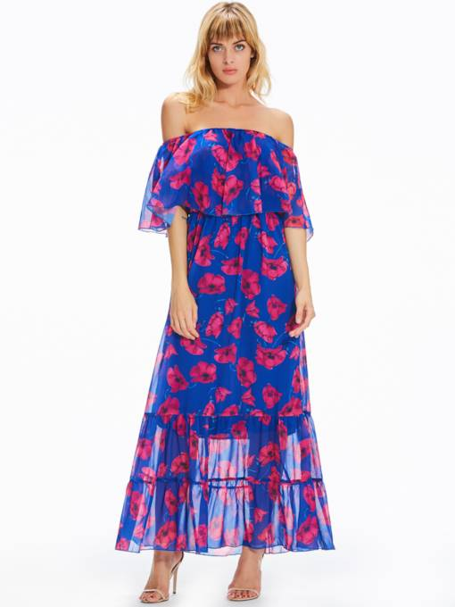 Slash Neck Chiffon Purple Women's Maxi Dress