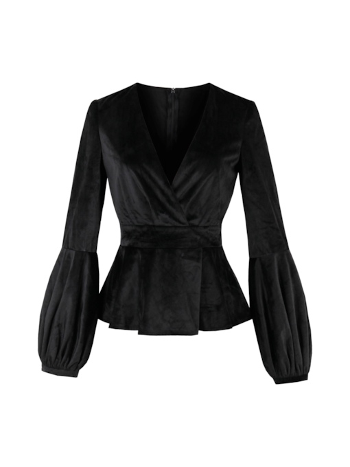 V-Neck Plain Puff Sleeve Women's Velvet Blouse