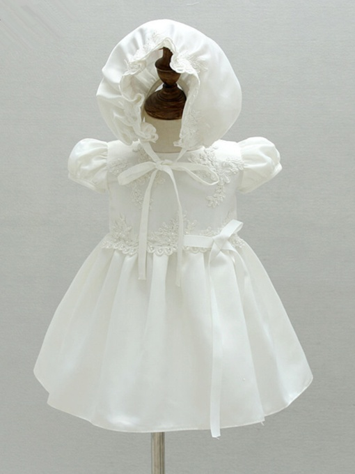 Short Sleeves Appliques Baby Girls Christening Gown for Baptism
