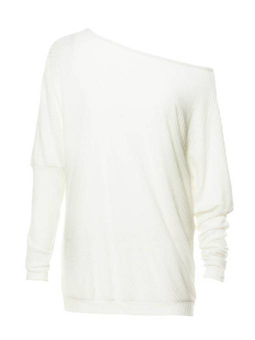 Oblique Collar with Batwing Sleeve Long Women's Sweater