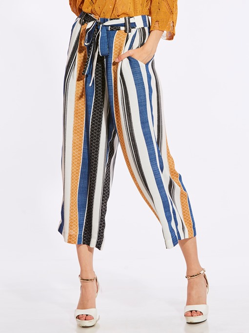 Color Block Stripe Lace-Up Wide Legs Women's Pants
