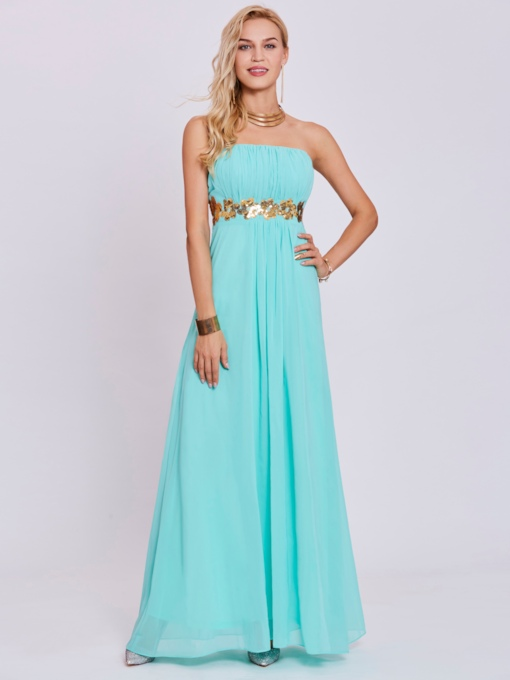 Strapless Sequins A Line Prom Dress
