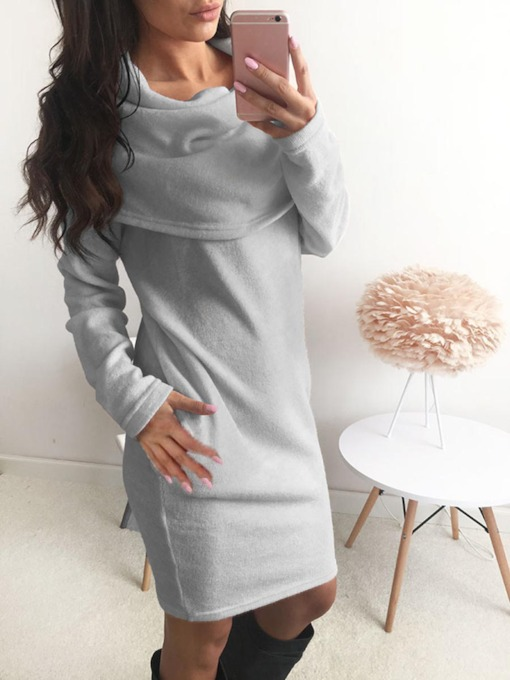 Plain Heaps Collar Women's Sweater Dress