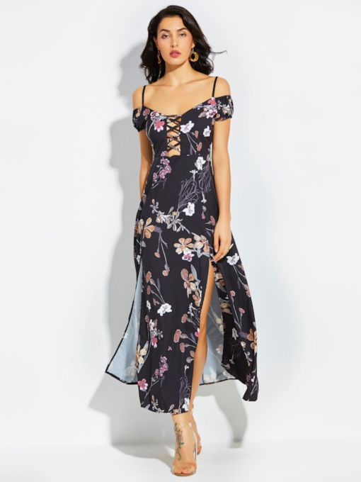 Spaghetti Strap Flower Print Vacation Women's Maxi Dress