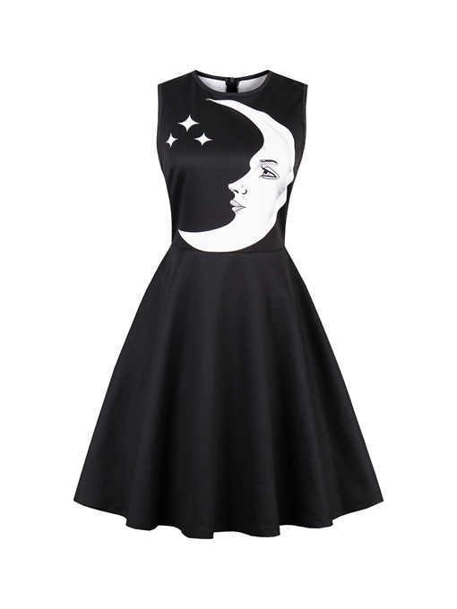 Black Moon Pattern Women's Day Dress