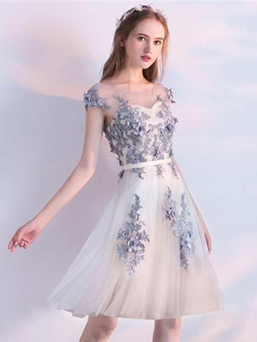 A-Line Scoop Appliques Beading Flowers Cap Sleeves Knee-Length Homecoming Dress