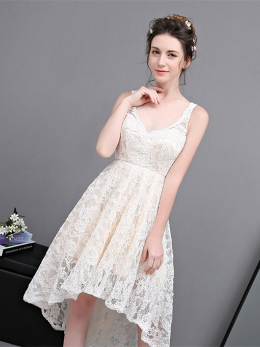 V-Neck Lace A-Line Asymmetry Homecoming Dress