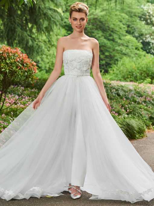 Strapless Lace Top Bridal Jumpsuits with Train