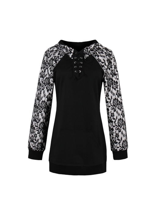Lace Patchwork Buckle Women's T-Shirt