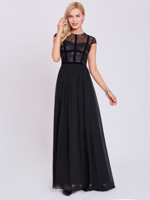 Jewel Neck Zipper-Up A Line Evening Dress