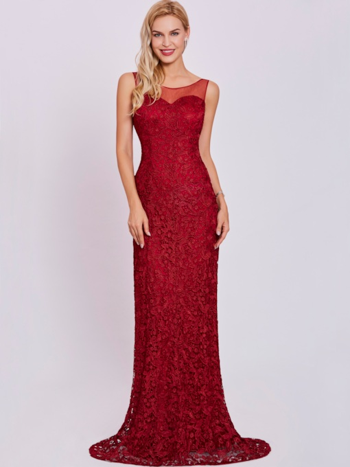 Scoop Lace Appliques Mermaid Evening Dress