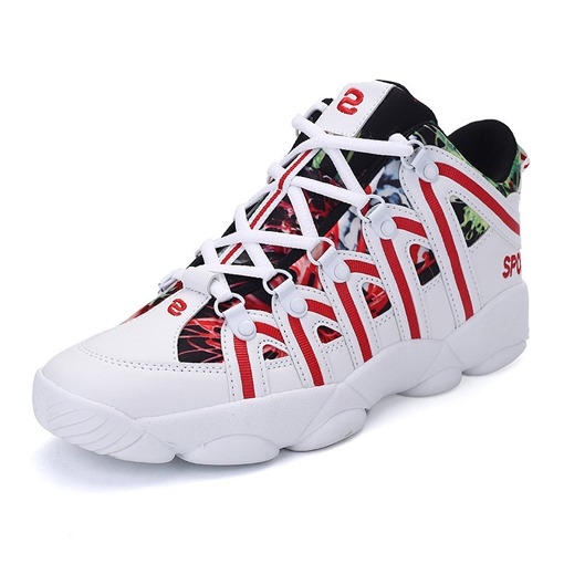 Color Block Print Mesh Thread Lace-Up Lover's Athletic Shoes