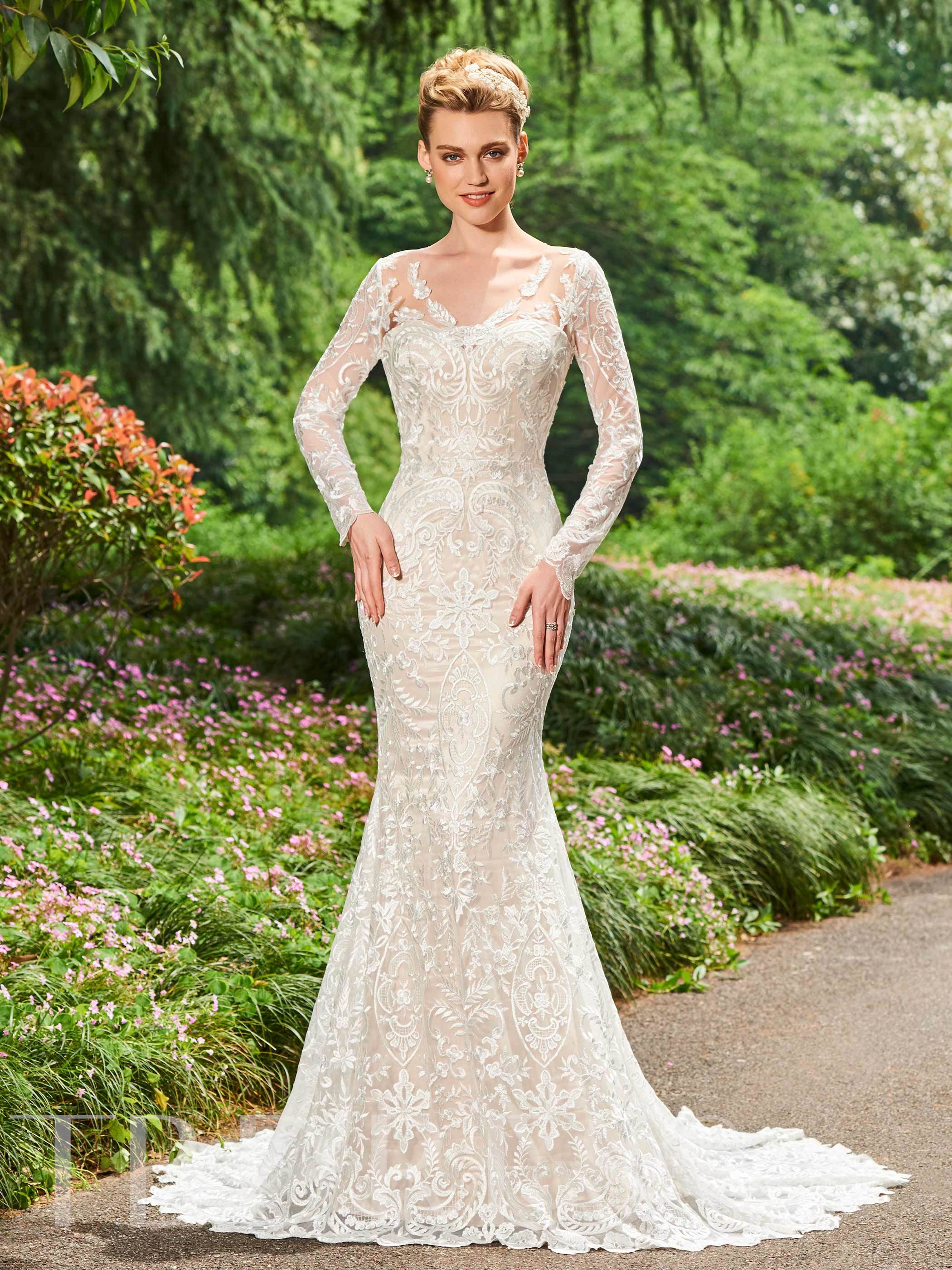 Image of Backless Long Sleeves Lace Wedding Dress