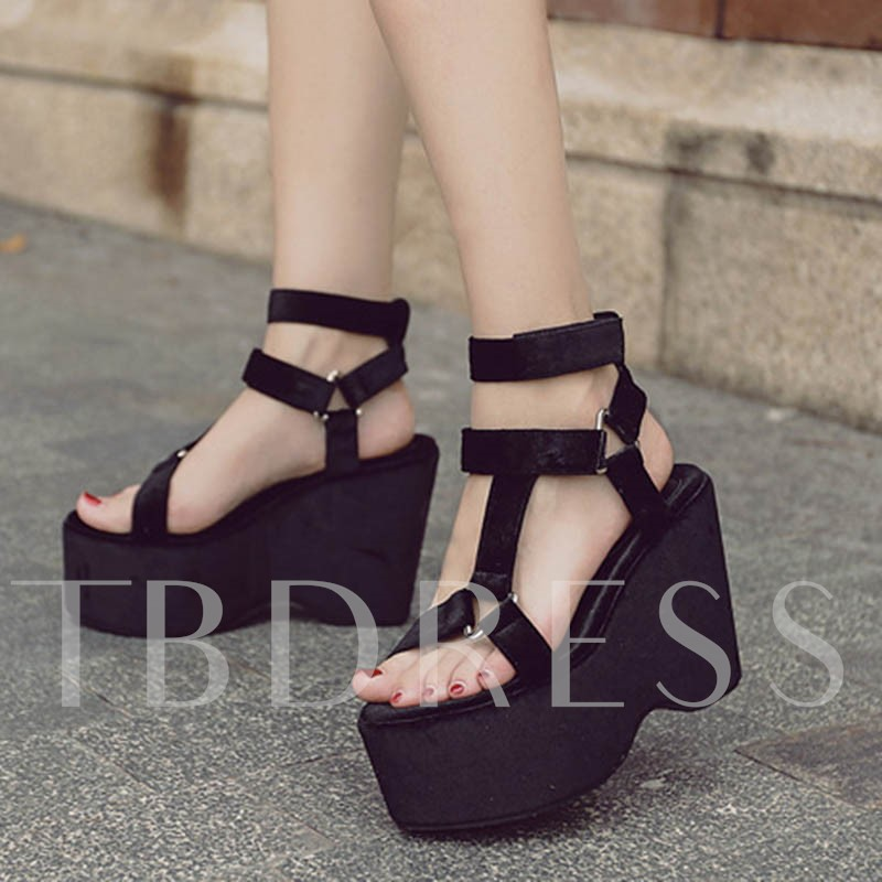 Open Toe Platform Buckle Strappy Wedge Heel Women's Casual Sandals