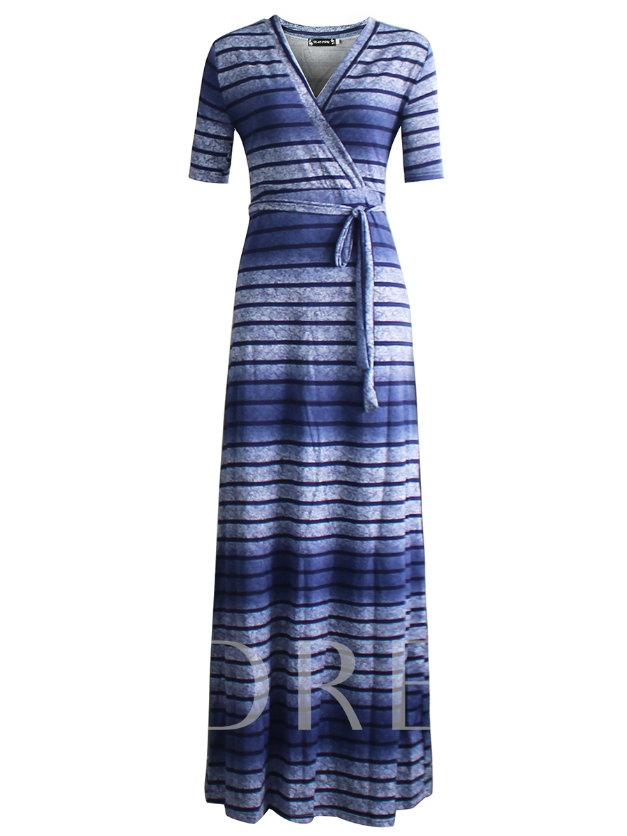 Buy Blue Half Sleeve Plus Size Women's Maxi Dress, Plusee, 12905461 for $23.99 in TBDress store