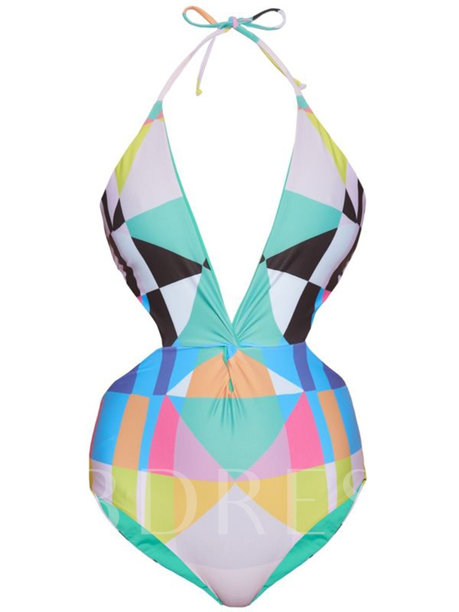 Lace-Up Geometric Color Block Backless One Piece Swimsuit
