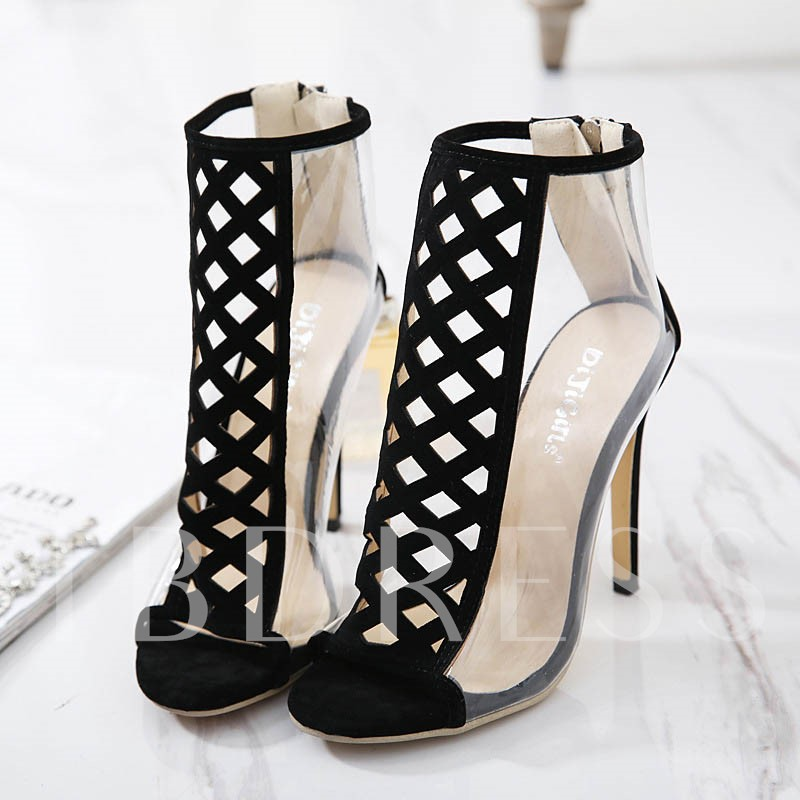 Peep Toe Patchwork Plain Heel Covering Clear Jelly Sandals