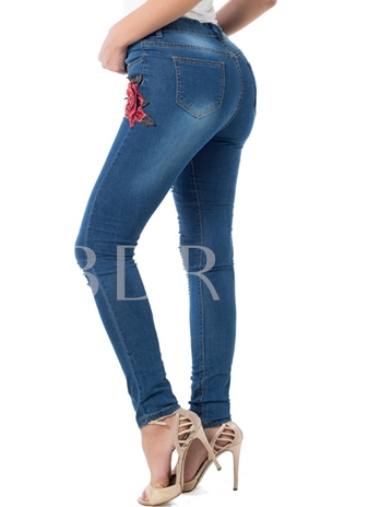 Skinny Embroidery Mid-Waist Women's Jeans