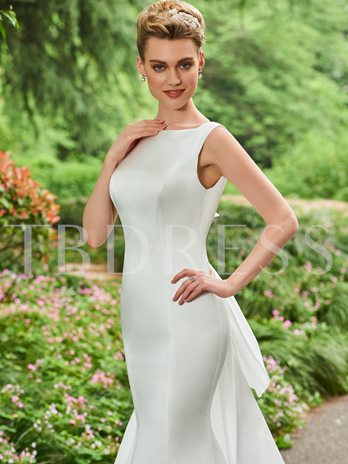 Bateau Neck Bowknot Watteau Train Wedding Dress