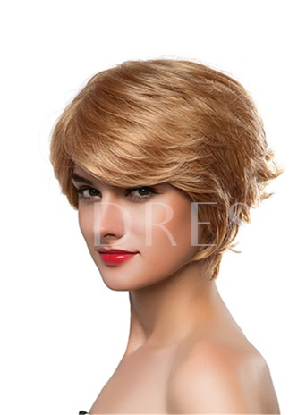 Short Wavy Gold One Side Part Human Hair Capless Wig 10 Inches