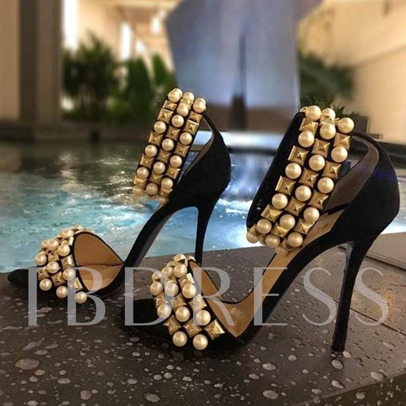 Buy Metallic Shoes Beads Rivet Plain Women's Sandals, Summer, 12904350 for $69.99 in TBDress store