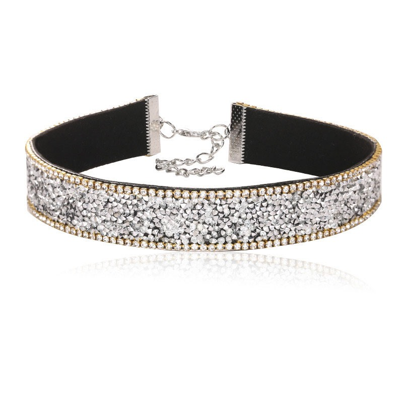 Full Drill Rhinestone PU Rope Alloy OL Torques Choker Necklace