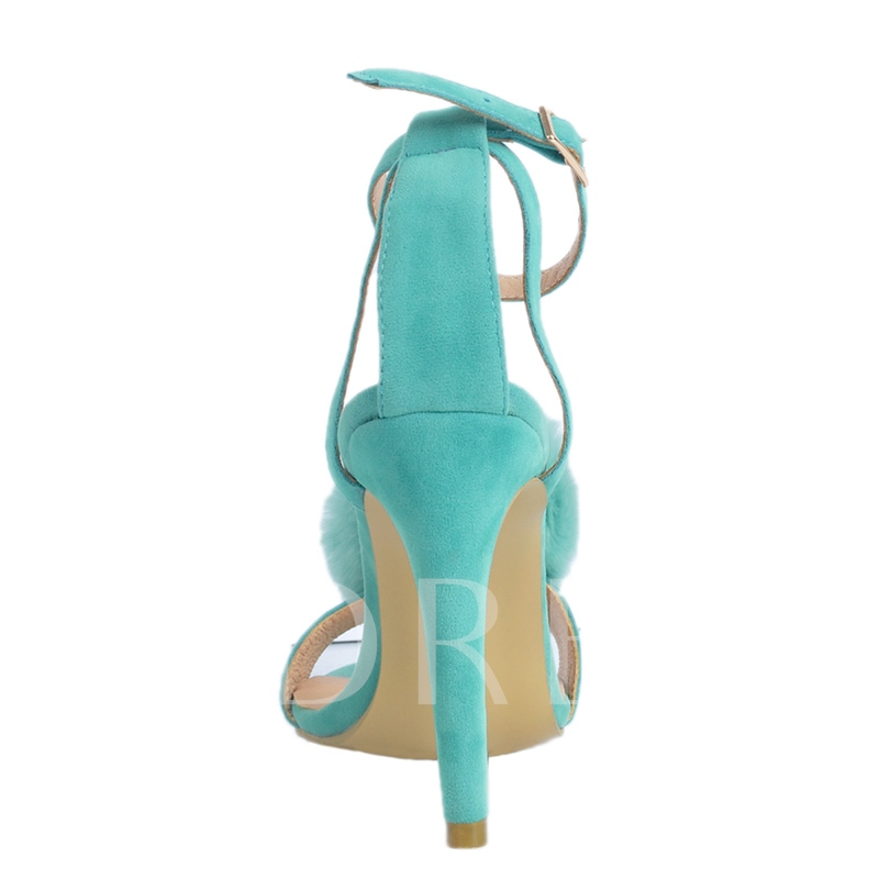 Stiletto Heel Line-Style Buckle Ankle Strap Pompon Women's Sandals
