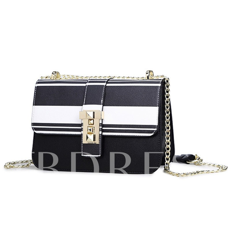 Trendy Color Block Chain Cross Body