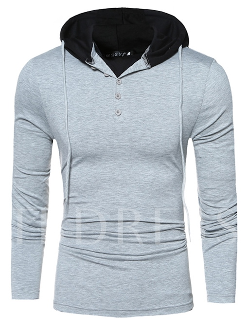 Solid Color Slim Vogue Men's Hooded T-Shirt