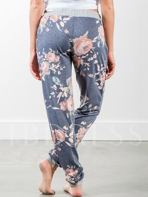 Elastics Loose Printing Lace-Up Full Length Women's Pants