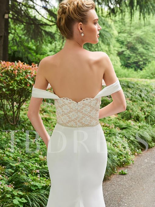 Off the Shoulder Pearls Lace Mermaid Wedding Dress