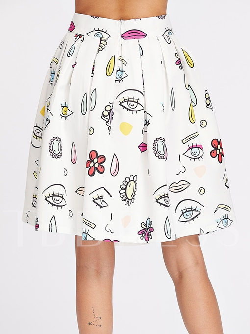 A-Line Pleated Knee-Length Women's Skirt