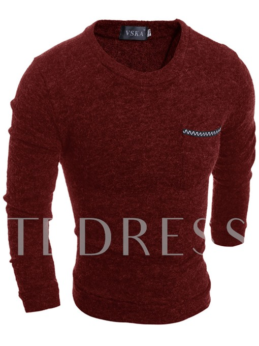 Solid Color Slim Fit Men's Plain Sweater