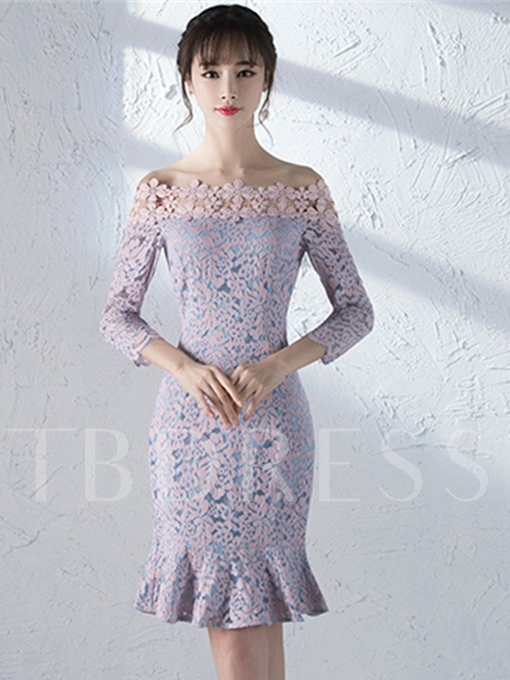 Off-the-Shoulder Sheath Flowers Lace Knee-Length Cocktail Dress