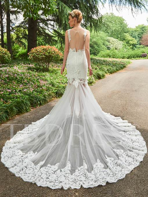 Sheer Back Lace Appliques Mermaid Wedding Dress