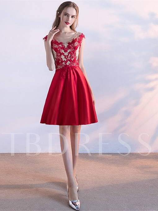 A-Line Appliques Beaded Flowers Pearls Homecoming Dress