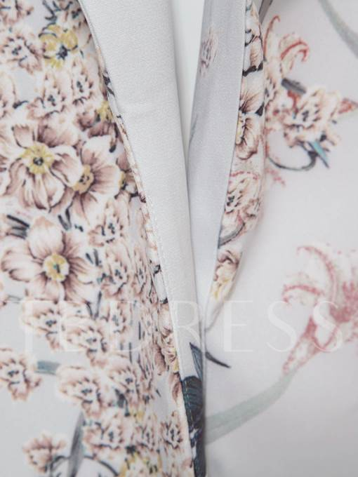 Long Lapel Flower Print Vacation Women's Trench Coat