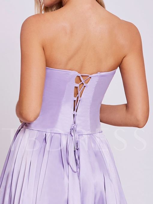 Sweetheart Lace-Up Beaded A Line Homecoming Dress