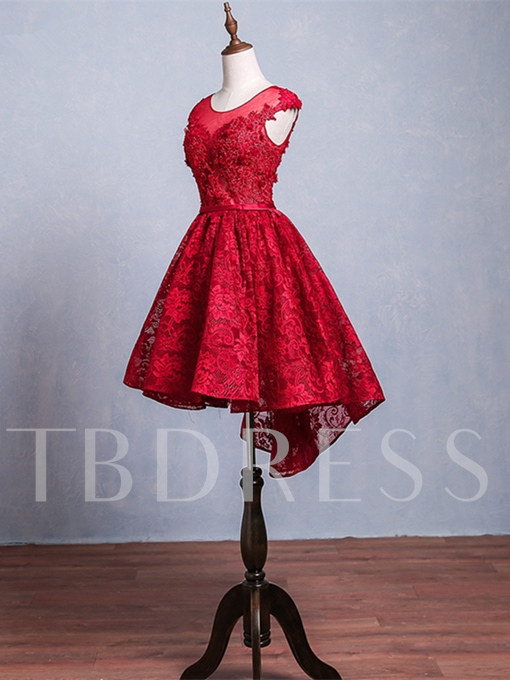 A-Line Lace Cap Sleeves Scoop Appliques Beading Lace Sashes Asymmetry Homecoming Dress