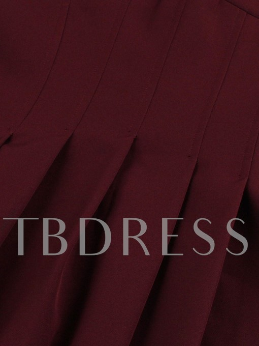 Burgundy Lantern Sleeve Women's Day Dress