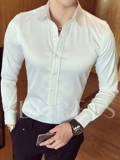 England Style Solid Color Anti-Wrinkle Slim Men's Shirt