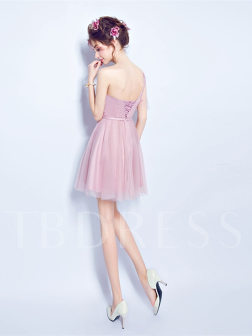 Appliques Bowknot A-Line Short Sleeves One-Shoulder Mini Homecoming Dress