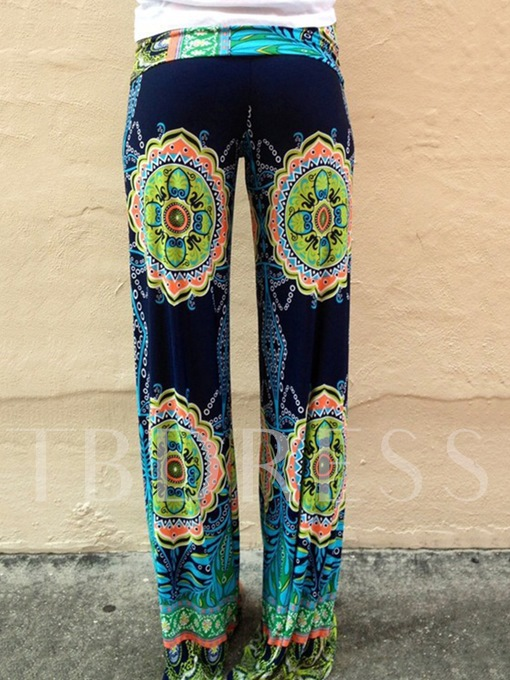 Loose Elastics Printing Loose Wide Legs Full Length Women's Pants