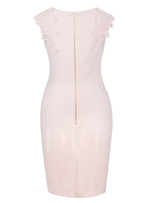 Appliques Single Plain Zipper Women's Bodycon Dress